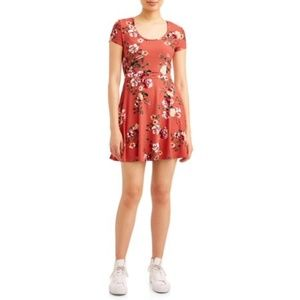 (FS) NB Floral Printed Open Back Cap Sleeve Dress